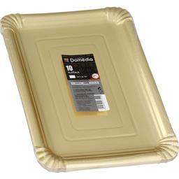 Assiettes carton rectangulaire 24x33 cm or couvert