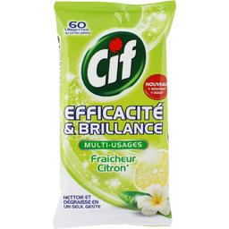 Lingettes multi-usages Antibactérien & Brillance citron