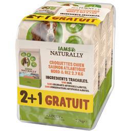 IAMS Naturally - Croquettes saumon riz pour chiens adulte... les 3 sacs de 2,7 kg