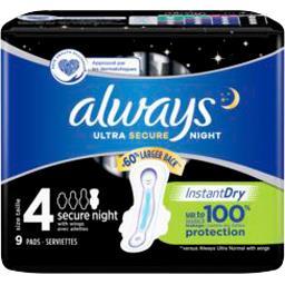 Serviettes hygiéniques ultra - secure night t4 x9