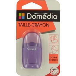 Taille-crayon gomme intégrée coloris assortis