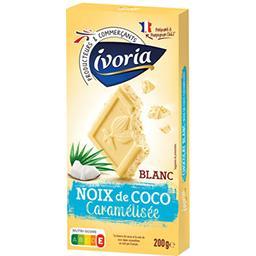 Chocolat blanc aux paillettes de noix de coco caramé...