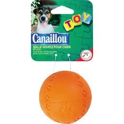 Toy - Balle souple pour chien diam 7,5 cm, coloris a...