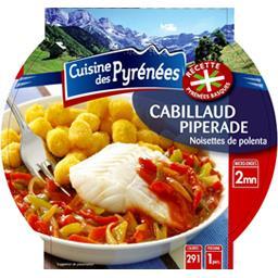 Cuisine des Pyrénées Cabillaud piperade noisettes de polenta la barquette de 300 g