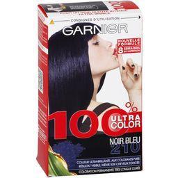 100% color Noir bleu 210, crème-gel coloration permanente, colorants purs, vitamine B3-B6