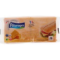 Pâturages Fromage Les Tranchettes Hamburger au cheddar le paquet de 18 - 340 g