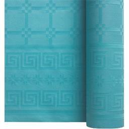 Nappe damassée 7 x 1,20 m turquoise