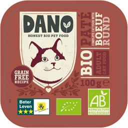 Dano Pâté pour chat au bœuf BIO la barquette de 100 g