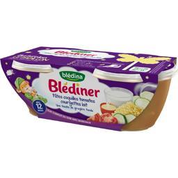 Blédîner - Pâtes coquilles tomates courgettes lait, ...