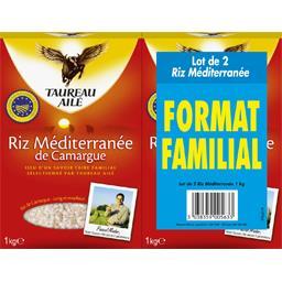 Taureau Ailé Riz méditerranée de Camargue le lot de 2 boites de 1 kg -