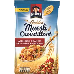 Quaker Golden Muesli croustillant amandes graines courges g... la boite de 500 g