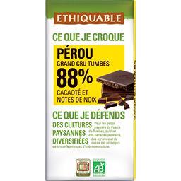 Chocolat noir Pérou 88% cacaoté et notes de noix BIO