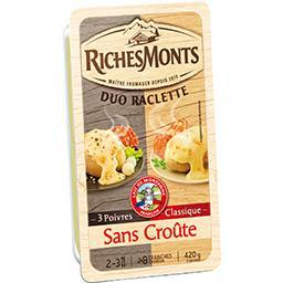 Fromage à raclette sans croûte 3 poivres et classiqu...
