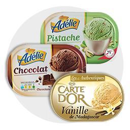 Glaces Chocolat - Pistache - Vanille