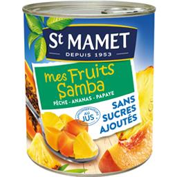 Mélange de pêche ananas papaye Mes Fruits Samba