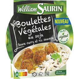 Boulettes végétales au soja sauce curry et riz sauvage