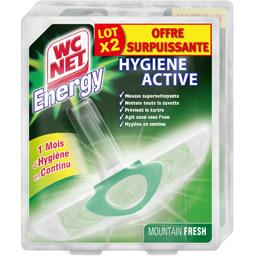 WC Net Energy - Bloc WC Hygiene Active Mountain Fresh le lot de 2 blocs de 38 g