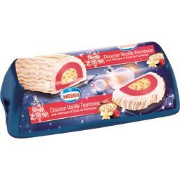 Bûche glacée vanille framboise meringue éclats de fr...