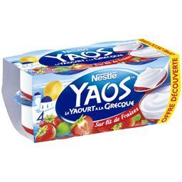 Nestlé Yaos - Le Yaourt à la Grecque sur lit de fraises les 4 pots de 125 g - Offre découverte