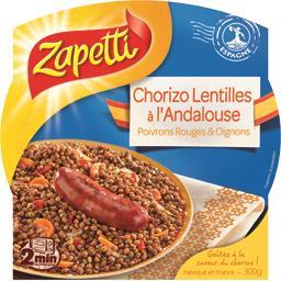 Chorizo lentilles à l'Andalouse poivrons rouges & oignons
