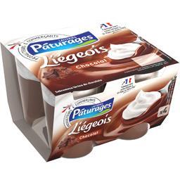 Liégeois chocolat, desserts lactés au chocolat, 4 x  ,PATURAGES,