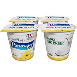 Pâturages Yaourt pur brebis vanille les 4 pots de 125 g