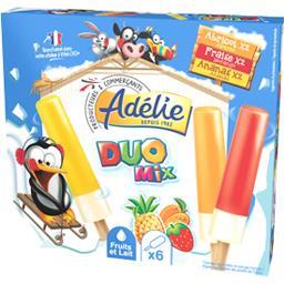 Adélie Glace Duo Mix fruits et lait les 6 bâtonnets de 47 ml