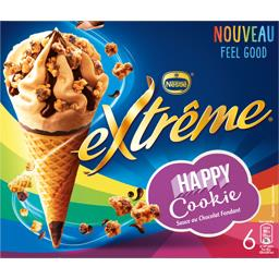 Cônes Happy Cookie sauce au chocolat fondant