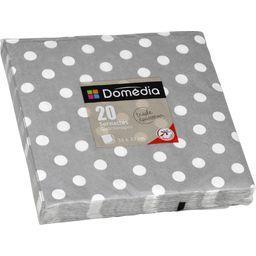 Serviettes 3 plis, pliage 1/4 33x33 cm, gris Dots