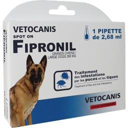 Traitement puces et tiques Fipronil grands chiens