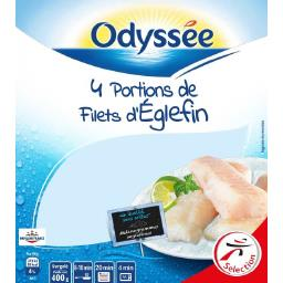 Odyssée Portions de filets d'églefin le sachet de 4 portions - 400 g