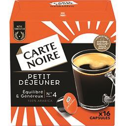 Carte Noire Capsules de café moulu Petit-Déjeuner intensité n°4 la boite de 16 capsules - 128 g