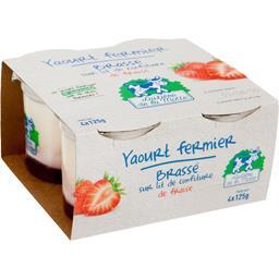 Yaourt fermier brassé sur lit de confiture de fraise