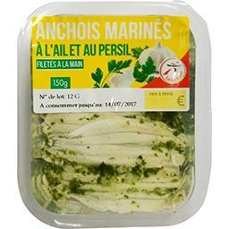 Anchois marinés à l'ail et persil filetés à la main