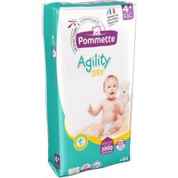 Couches Agility Dry, taille 4+ : 9-20 kg,POMMETTE,le paquet de 64