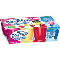 Danone Danonino - Fromage blanc à glacer framboise/vanille/... les 8 pots de 50 g