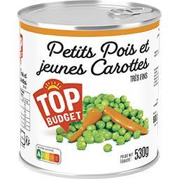 Petits pois très fins et jeunes carottes à l'étuvée