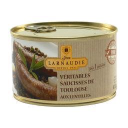 Jean Larnaudie Véritables saucisses de Toulouse aux lentilles la boite de 410 g