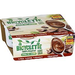 A Bicyclette Dessert 100% végétal avoine riz amande chocolat les 4 pots de 100 g