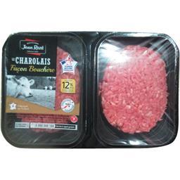 Jean Rozé Steaks hachés Le Charolais façon bouchère 12% la barquette de 4 steaks - 500 g