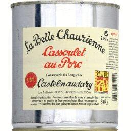 Cassoulet au porc cuisiné à la graisse de canard,LA BELLE CHAURIENNE,la boite de 840g