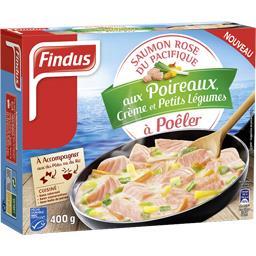 Saumon rose aux poireaux crème et petits légumes à p...