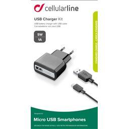 Kit chargeur secteur USB 1A + Câble Apple micro USB noir