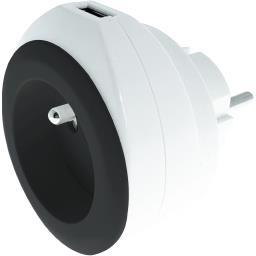 Chargeur USB 2,4 A + 16 A + câble coloris blanc/noir
