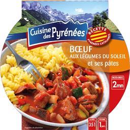 Cuisine des Pyrénées Bœuf aux légumes du soleil et ses pâtes la barquette de 300 g