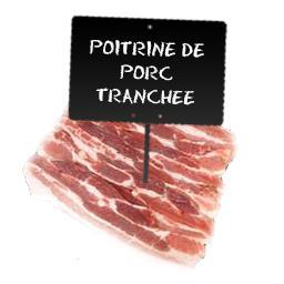 Votre boucher à selectionné Poitrine de PORC tranchée LABEL ROUGE, ventrèche à partir de 200 gr environ