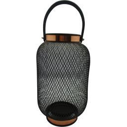 Lanterne métal avec contour cuivre et anse imitation...