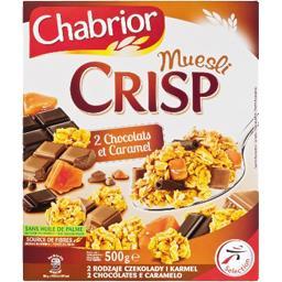 Céréales Muesli Crisp 2 chocolats et caramel