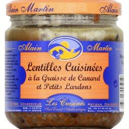 Lentilles cuisinées à la graisse de canard et petits lardons
