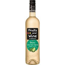 Citron Menthe Fruits and Wine Boisson Aromatisée à base de vin Blanc la bouteille de 75 cl